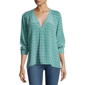 Joie Aceline Silk Floral-Print Top Green